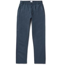 Sunspel Navy Garment Dyed Cotton Twill Drawstring Trousers Navy