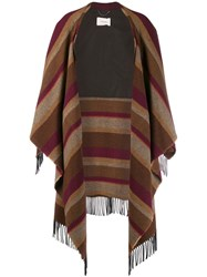 Dorothee Schumacher Cosy Fringes Striped Cape Neutrals