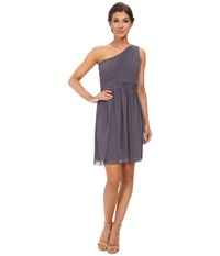Jessica Simpson One Shoulder Pleated Dress Stone Slate Grey Women's Dress Multi