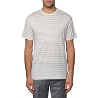 Sunspel Charcoal Melange White Crew T Shirt Grey