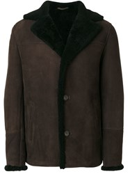 Desa 1972 Buttoned Shearling Jacket Brown