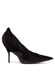 Balenciaga Drape Velvet Wrap Pumps Black