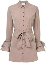 Alexis Ruffled Sleeve Shirt Dress Brown