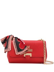 Love Moschino Logo Plaque Crossbody Bag Red