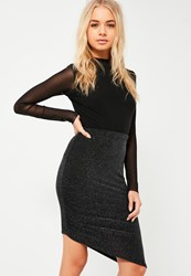 Missguided Black Glitter Sparkle Ruched Side Asymmetric Skirt
