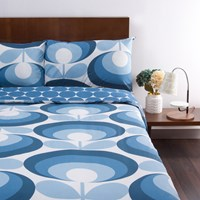 Orla Kiely '70S Flower Oval Duvet Cover Marine Double