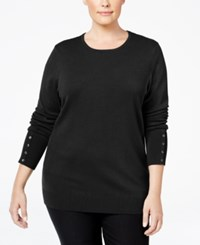 Jm Collection Plus Size Button Sleeve Sweater Only At Macy's Deep Black
