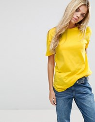 Asos Ultimate Curved Hem Boyfriend T Shirt Bright Yellow