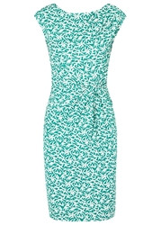 Laurel Turquoise Bird Print Jersey Dress