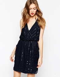 Aryn K Wrap Front Dress With T Bar Back Detail Indigo