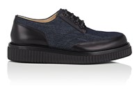 Paul Andrew Ethan Denim And Leather Oxfords Navy Black
