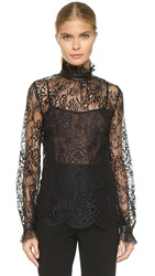 Tamara Mellon Lace Turtleneck Blouse Black