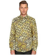 Versace All Over Baroque Tiger Print Long Sleeve Button Up Gold Melange Men's Long Sleeve Button Up