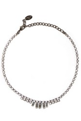 Elizabeth Cole Gunmetal Tone Swarovski Crystal Necklace Gold