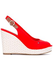 Tommy Hilfiger Sling Back Wedge Pumps Women Cotton Leather Rubber 40 Red