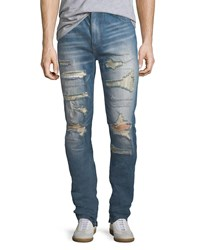God's Masterful Children Furfante Distressed Slim Straight Jeans With Backing Blue