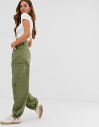 Pull And Bear Button Front Cargo Pants In Khaki Green