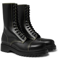 Balenciaga Cap Toe Leather Boots Black