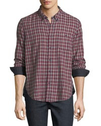 Velvet Flannel Cotton Sport Shirt Red Blue