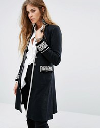 Denim And Supply Ralph Lauren By Longline Officer Coat With Embroidered Detail Black