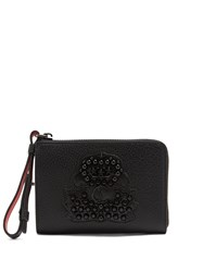 Christian Louboutin Tinos Crest Embellished Leather Wallet Black