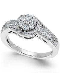 Macy's Diamond Halo Promise Ring In Sterling Silver 1 2 Ct. T.W.