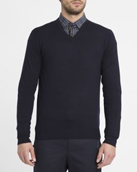 Hackett Navy Fine Knit Tone On Tone Elbow Patches V Neck Sweater Blue