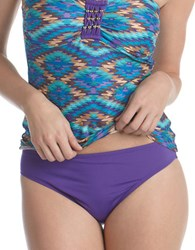 2 Bamboo Solid Hipster Swim Bottom Purple