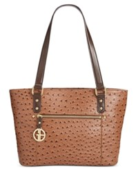 Giani Bernini Ostrich Embossed Tote Only At Macy's Mocha