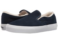 Vans Classic Slip On Suede Fleece Dress Blues True White Skate Shoes