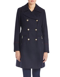 Vince Camuto Double Breasted Military Walker Coat Navy Blue