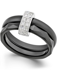 Macy's Diamond Double Ceramic Ring 1 4 Ct. T.W. In Sterling Silver