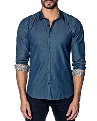 Jared Lang Modern Fit Chambray Long Sleeve Shirt Blue Chambery