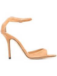 Alexa Wagner Open Toe Sandals Women Leather Suede 38 Nude Neutrals