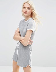 Asos Casual Romper With Contrast Binding Gray