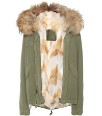 Mr And Mrs Italy Mini Army Fur Lined Parka With Fur Trimmed Hood Green