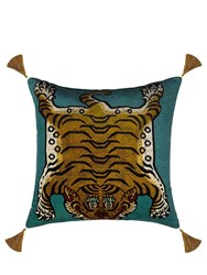 House Of Hackney Large Saber Cotton Velvet Accent Pillow Blue Multi