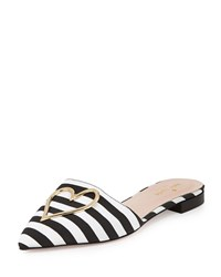 Beckon Striped Grosgrain Slide Black White Kate Spade New York