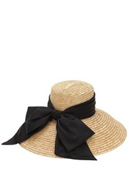 Eugenia Kim Straw Hat W Satin Bow Natural