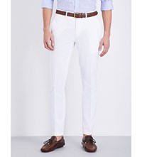 Ralph Lauren Purple Label Knightsbridge Slim Fit Tapered Stretch Cotton Trousers White