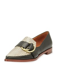 Derek Lam Agatha Snakeskin Leather Buckle Loafer Black Natural