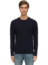 Belstaff Engineered Wool And Cashmere Knit Sweater Navy