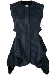 Litkovskaya Pleated Armour Vest Women Cotton Linen Flax 36 Blue
