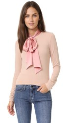 Alice Olivia Emmanuel Tie Neck Top Pale Pink