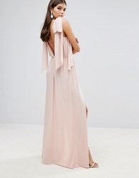 Asos Grecian Bow Tie Shoulder Maxi Dress With Double Splits Nude Pink