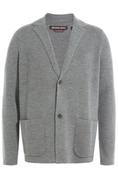 Michael Kors Collection Extra Fine Merino Wool Cardigan Grey