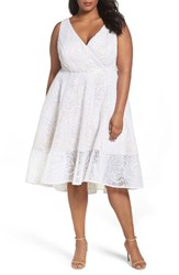 Adrianna Papell Plus Size Women's Bonded Mesh High Low Dress Ivory