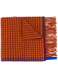 Paul Smith Ps By Gingham Scarf Yellow And Orange