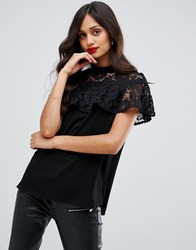 Ax Paris Lace Short Sleeve Top Black