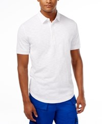 Sean John Men's Lightweight Linen Slub Polo Bright White